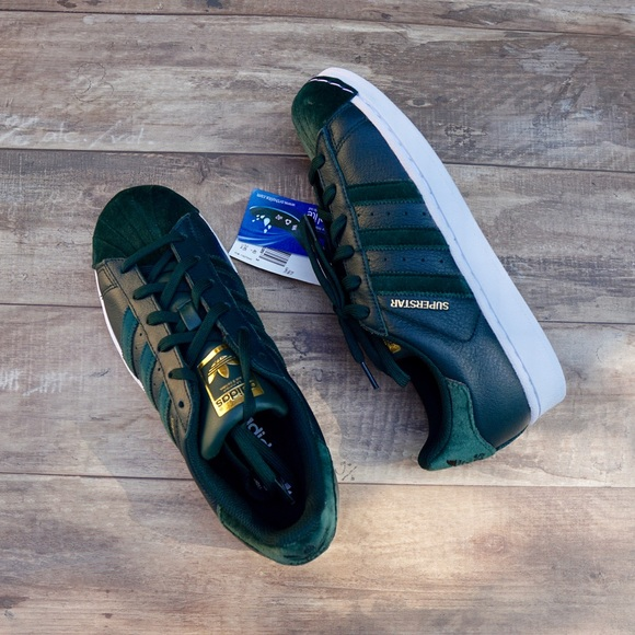 NWT Adidas Superstar Green Leather Velvet Sneakers NWT